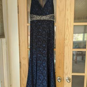 Navy lace prom dress